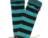 Teal and Brown Rugby Stripes with fold over cuff kNee Caps - Newborn to 4t Unisex