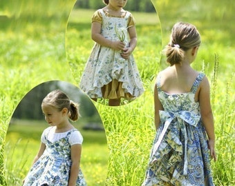 Sweet Innocence, girls dress sewing pattern pdf, 5 dresses sizes 2 to 10