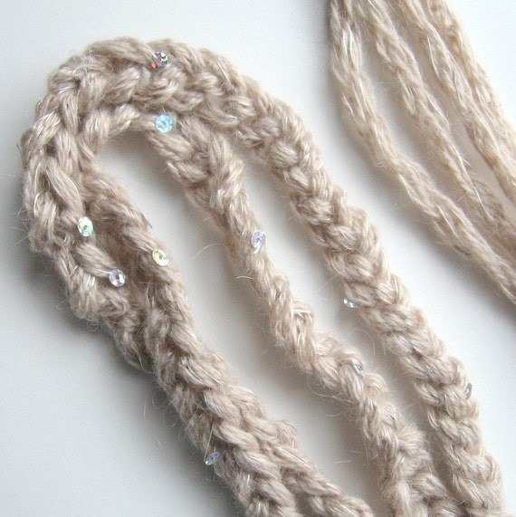 Double Braid Beige HeadBand Accented with Silver Iridescent Sequins - Dew Drops