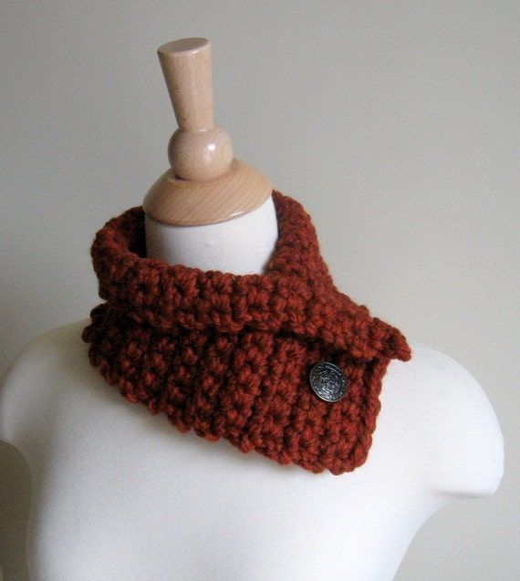 Pumpkin Spice Neck Cozy Neck Warmer Cowl with Vintage Metal Sweater Button - Reserved for lifeasinterns Only