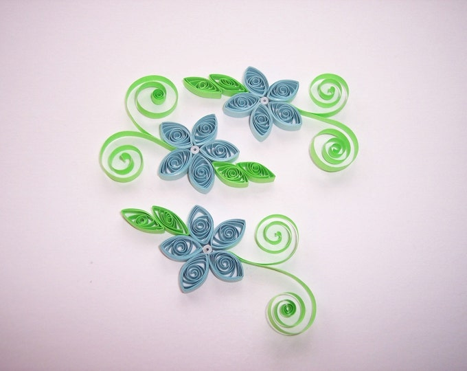 Quilled Light Blue Flowers