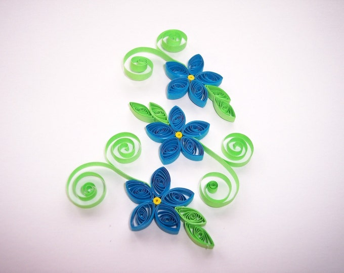 Quilled Blue Flowers