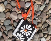 Rainia Modern Back and White floral Hip pouch with a POP of orange