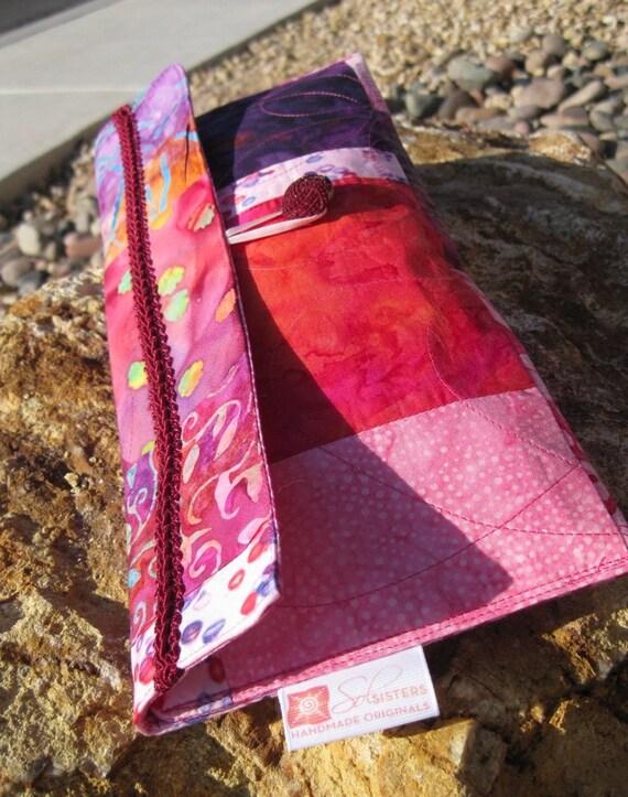 Abella Pink and Purple Batik Patchwork Envelope Clutch
