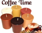 6 Coffee Time Votive Candles Variety Coffee Scents Candle Assortment