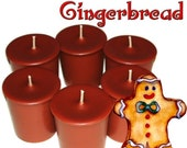 6 Gingerbread Votive Candles Spicy Cookie Scent Handmade
