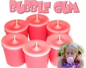 6 Bubble Gum Votive Candles Kids Favorite Scent
