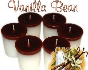 6 Vanilla Bean Votive Candles Sweet Vanilla Scent
