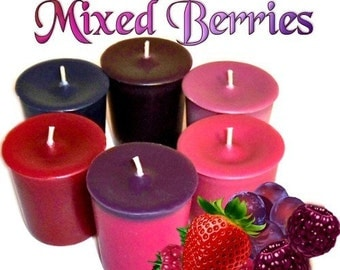 6 Mixed Berries Variety Pack Votive Candles Assorted Berry Scents