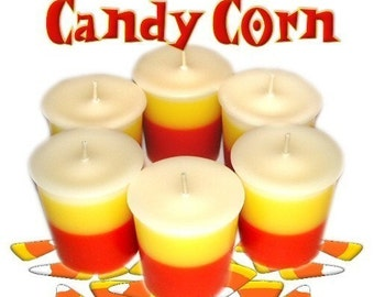 6 Candy Corn Votive Candles Honey Vanilla Scent