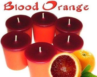 6 Blood Orange Votive Candles Fruit and Herbal Scent