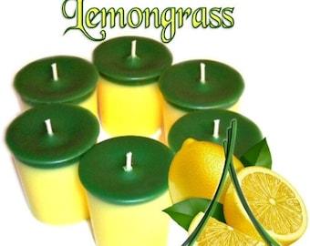 6 Lemongrass Votive Candles Lemon Herbal Scent