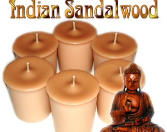 6 Indian Sandalwood Votive Candles Earthy Scent