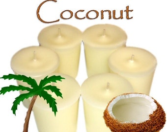 6 Coconut Votive Candles Tropical Scent