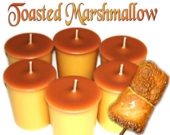 6 Toasted Marshmallow Votive Candles Caramel Vanilla Scent