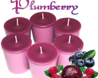 6 Plumberry Votive Candles Plum and Berry Scent
