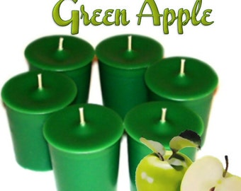 6 Green Apple Votive Candles Granny Smith Apple Scent