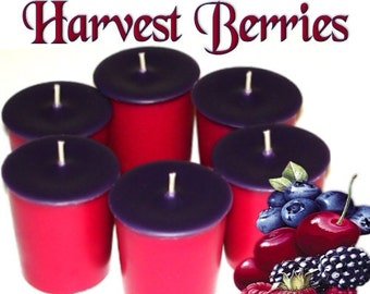6 Harvest Berries Votive Candles Mixed Berry Scent