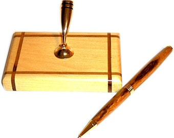 Wood Pen Desk Set Marblewood Pen with Stand Handmade S3