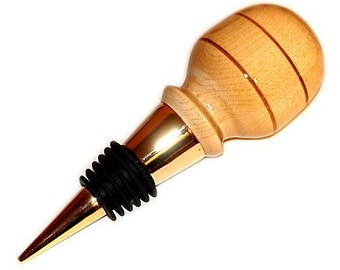 Wine Bottle Stopper Maple Wood with Mahogany 1 in Velvet Gift Bag Handmade