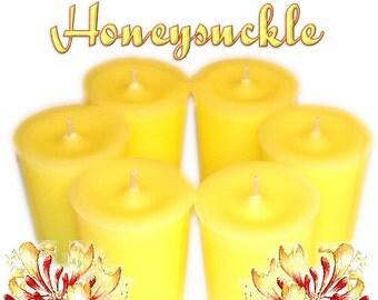 6 Honeysuckle Votive Candles Spring Floral Scent