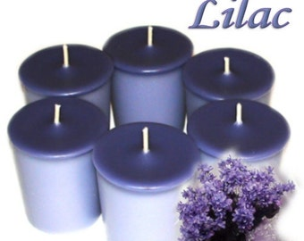 6 Lilac Votive Candles Spring Floral Scent Handmade