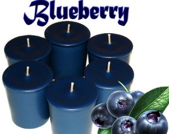 6 Blueberry Votive Candles Berry Fruit Summer Scent