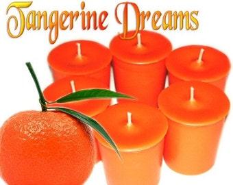 6 Tangerine Dreams Votive Candles Juicy Fruit Scent