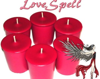 6 LoveSpell Votive Candles Fruity Scent