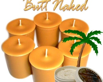 6 Butt Naked Votive Candles Cocoa Butter Scent