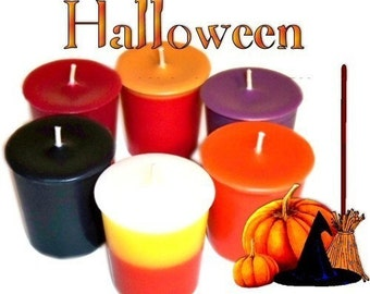 6 Halloween Votive Candles Assortment Spooky Fall Variety Scents
