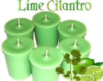 6 Lime Cilantro Votive Candles Refreshing Citrus Scent