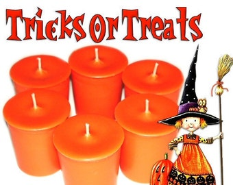 6 Tricks or Treats Votive Candles Fruit Spice and Vanilla Halloween Scent