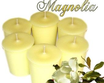6 Magnolia Votive Candles Light Floral Scent