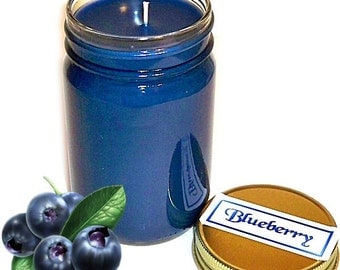 Blueberry Mason Jar Candle Fruit Scent 12 Oz Handmade