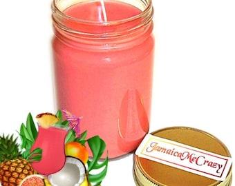 Jamaica Me Crazy Mason Jar Candle Tropical Fruit Scent 12 Oz Handmade