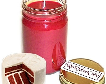 Red Velvet Cake Mason Jar Candle Bakery Scent 12 Oz Handmade