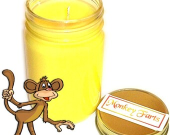 Monkey Farts Mason Jar Candle Banana Scent 12 Oz Handmade