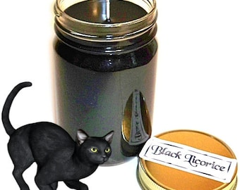 Black Licorice Mason Jar Candle Candy Scent 12 Oz Handmade