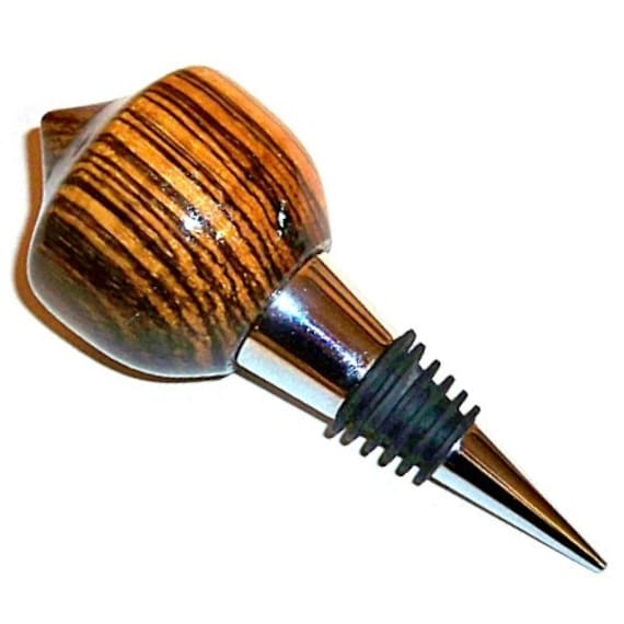 Bottle Stopper Zebrawood Wood in Velvet Gift Bag 64 Barware Wine Stopper Handmade