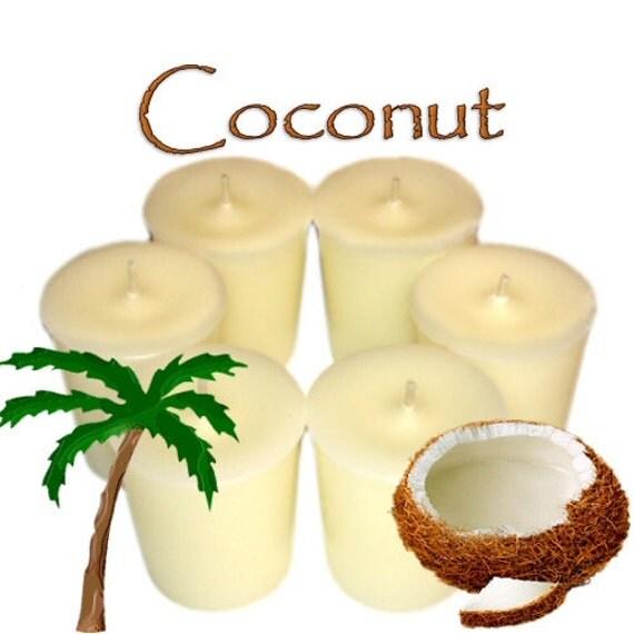 6 Coconut Votive Candles Tropical Scent