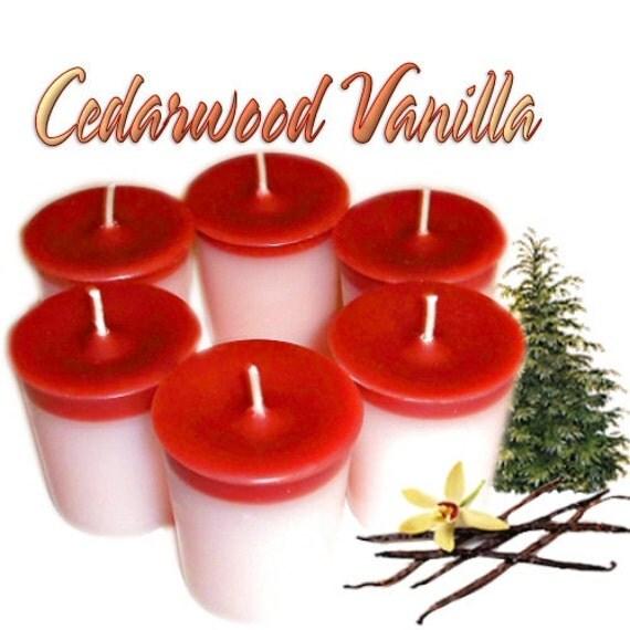 6 Cedarwood Vanilla Votive Candles Vanilla Cedar Scent
