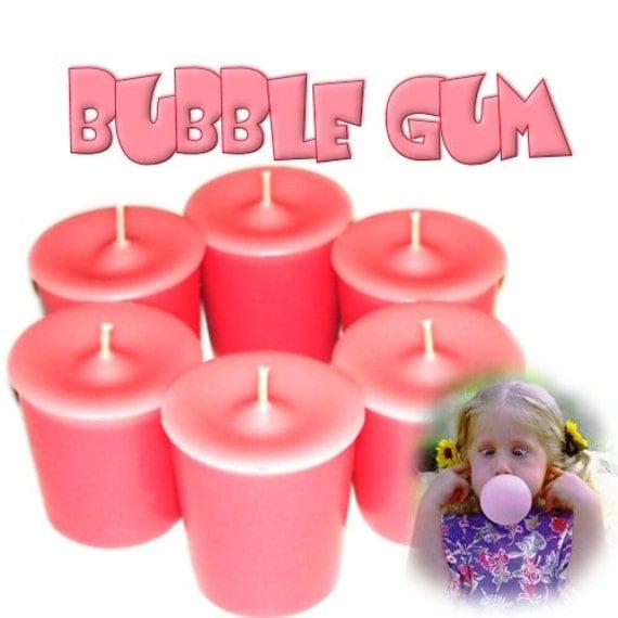 6 Bubble Gum Votive Candles Kids Favorite Scent