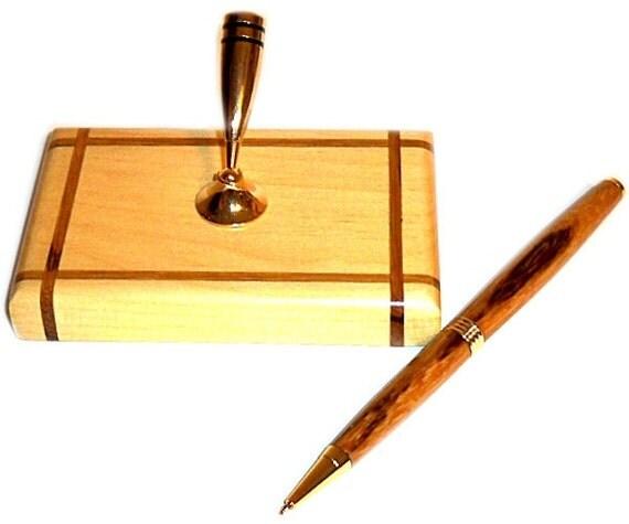 Wood Pen Desk Set Marblewood Pen with Stand Handmade S3