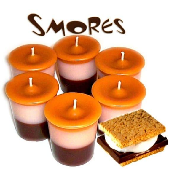 6 Smores Votive Candles Chocolate Marshmallow Graham Cracker Scent
