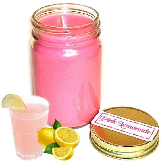 Pink Lemonade Mason Jar Candle Citrus Scent 12 Oz Handmade