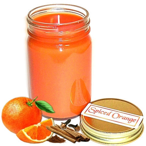 Spiced Orange Scent Mason Jar Candle 12 Oz Handmade