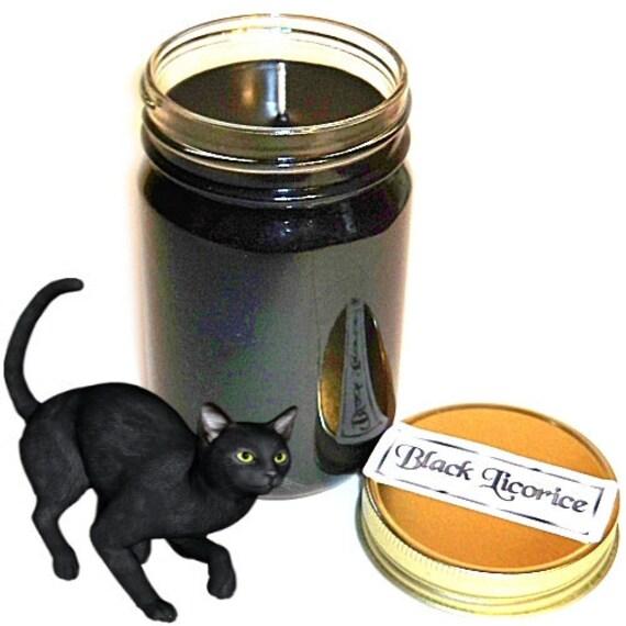 Black Licorice Mason Jar Candle Candy Scent 12 Oz Handmade