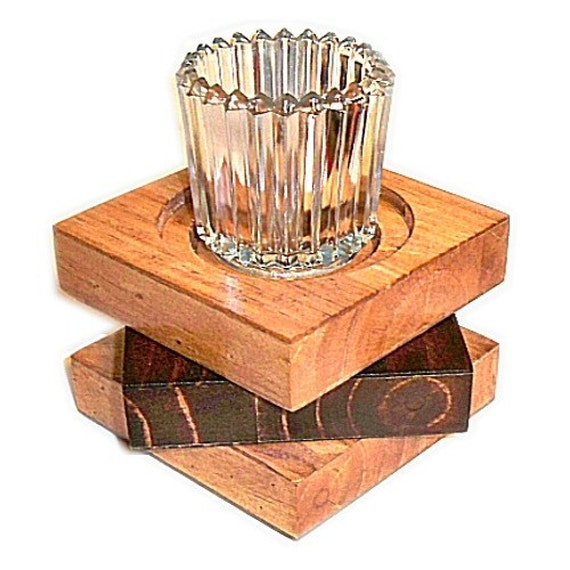 Candle Holder Recycled Wood for Pillar or Votive Candles Handmade 15 Star Design
