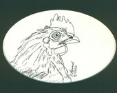 Chicken,  original ink drawing, 5 by 7 matted drawing
